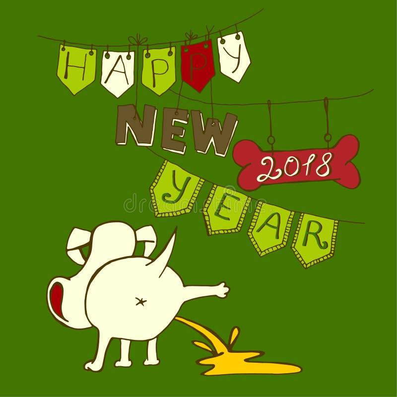 Nieuwe jaarprentbriefkaar stock illustratie
