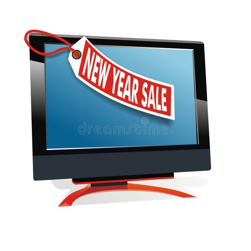 Nieuwe jaarverkoop voor monitorvertoning vector illustratie