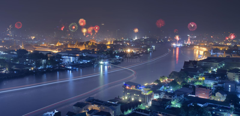 Nieuwe jaarviering in Thailand stock foto's