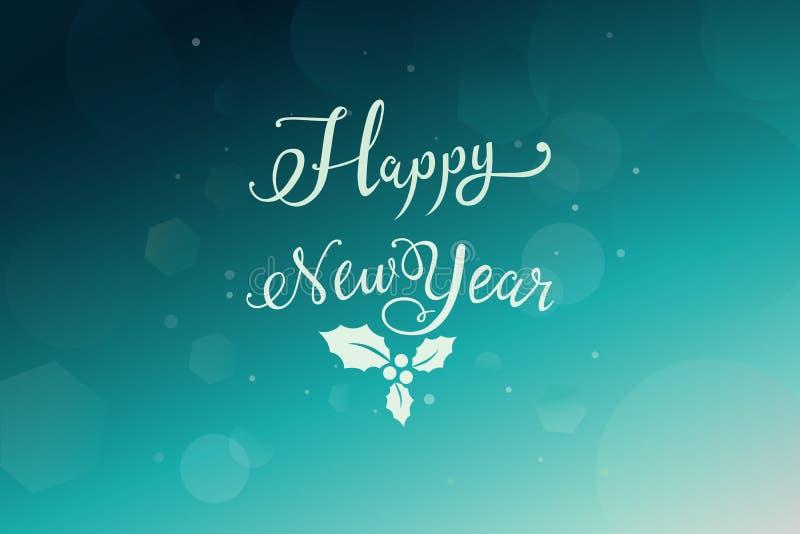 Nieuwe jaarwensen over donkerblauwe groene achtergrond met wit Kerstmisornament royalty-vrije illustratie
