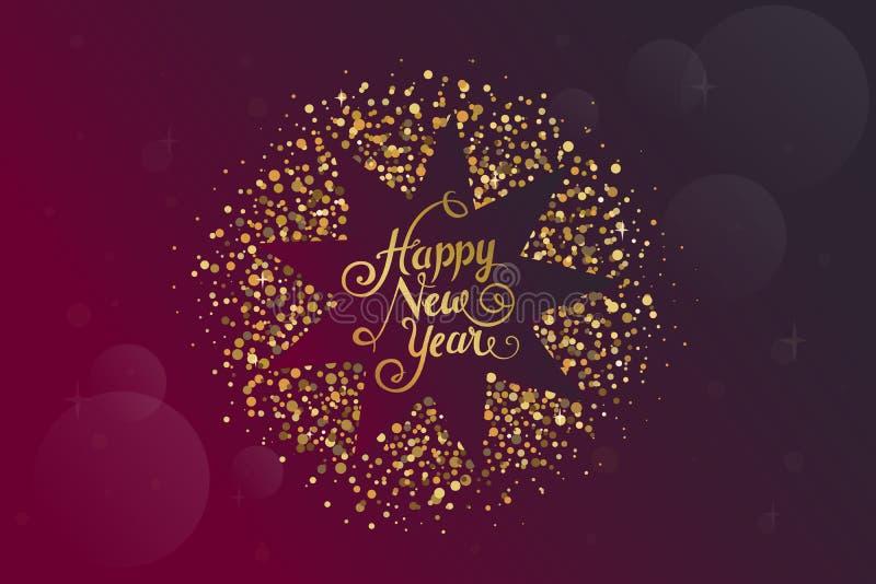 Nieuwe jaarwensen over donkerrode achtergrond met geel Kerstmisornament royalty-vrije illustratie