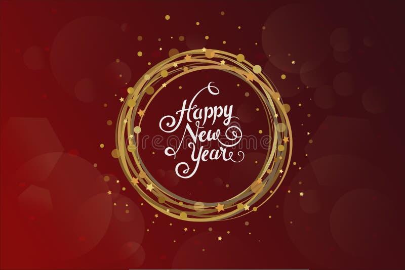 Nieuwe jaarwensen over donkerrode achtergrond met geel Kerstmisornament vector illustratie