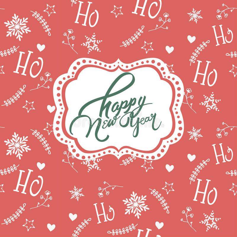 Nieuwe jaarwensen over rode achtergrond met wit Kerstmisornament stock illustratie