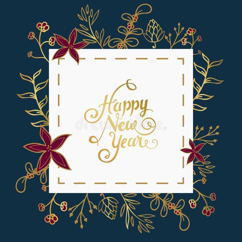 Nieuwe jaarwensen in wit vierkant over donkerblauwe achtergrond met Kerstmisornament stock illustratie