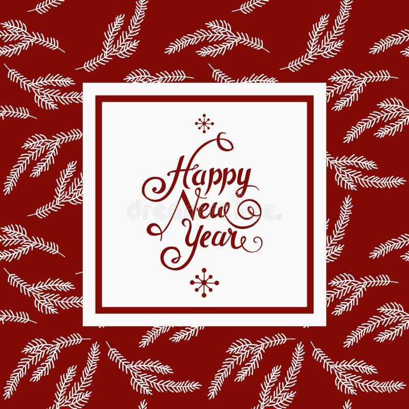 Nieuwe jaarwensen in wit vierkant over rode achtergrond met Kerstmisornament vector illustratie