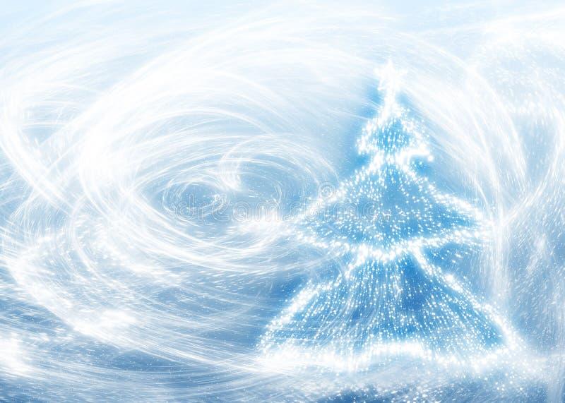 Nieuwe jarenboom en blizzard royalty-vrije illustratie