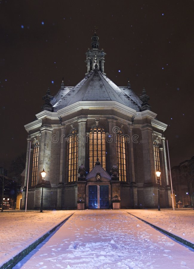 Download Nieuwe Kerk Den Haag Covered In Snow At Night, While Snowing Stock Photo - Image: 459750