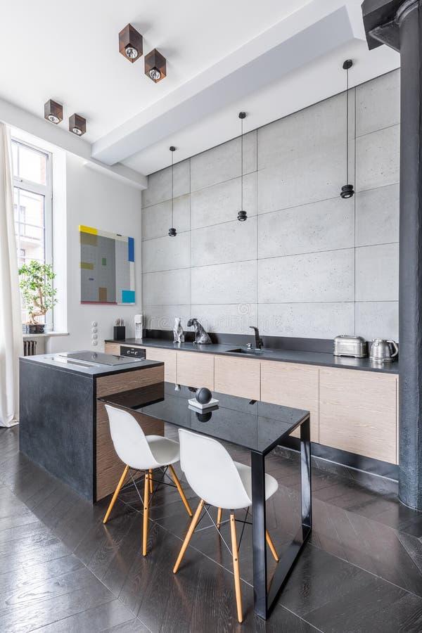 Nieuwe Keuken met Eiland royalty-vrije stock foto