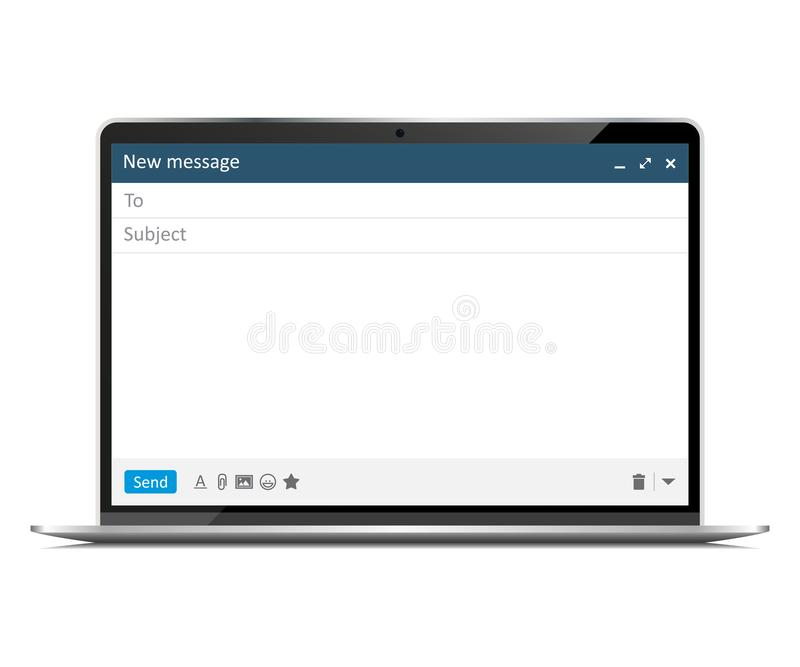 Nieuwe laptop met de interface van het e-mailconceptenvenster vector illustratie