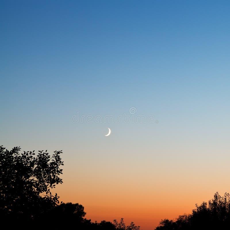 Nieuwe maan in donkerblauwe en rode hemel bij recente zonsondergang stock fotografie
