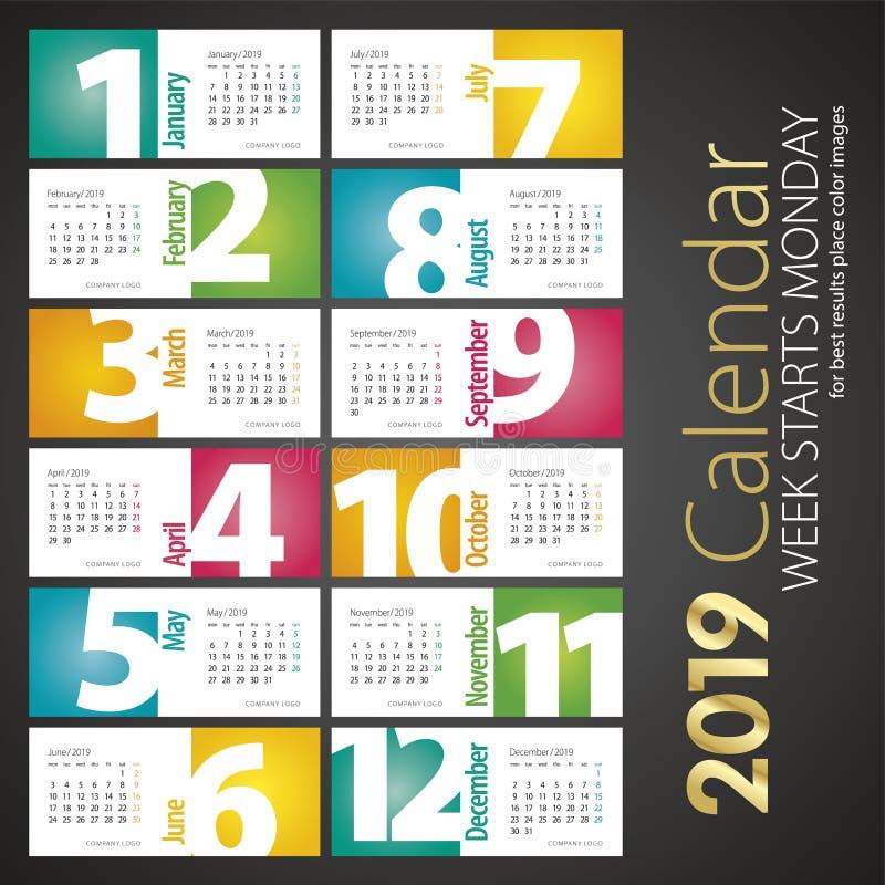 2019 Nieuwe maandelijkse het landschapsachtergrond van de Bureaukalender royalty-vrije illustratie