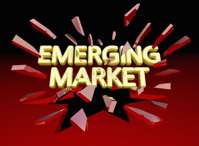 Nieuwe Marktwoorden die Gebied 3d Illustra breken van de Glas het Nieuwe Groei vector illustratie