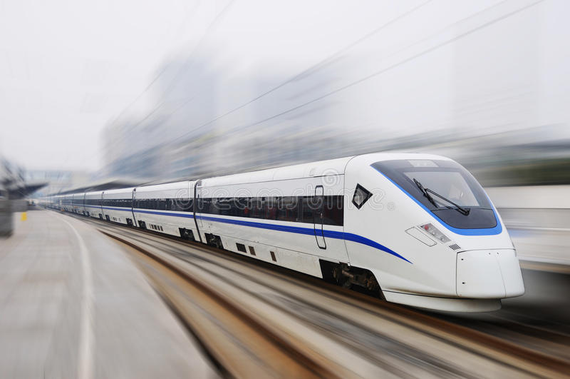 Nieuwe model Chinese snelle trein stock foto
