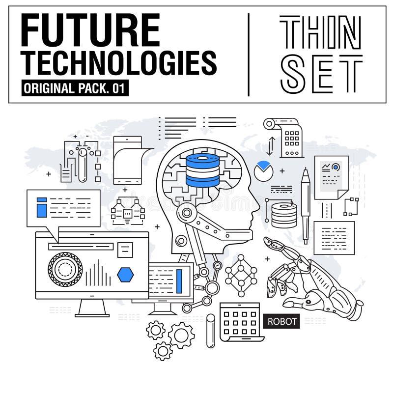 Nieuwe moderne dunne lijnpictogrammen geplaatst technologie van toekomst stock afbeelding