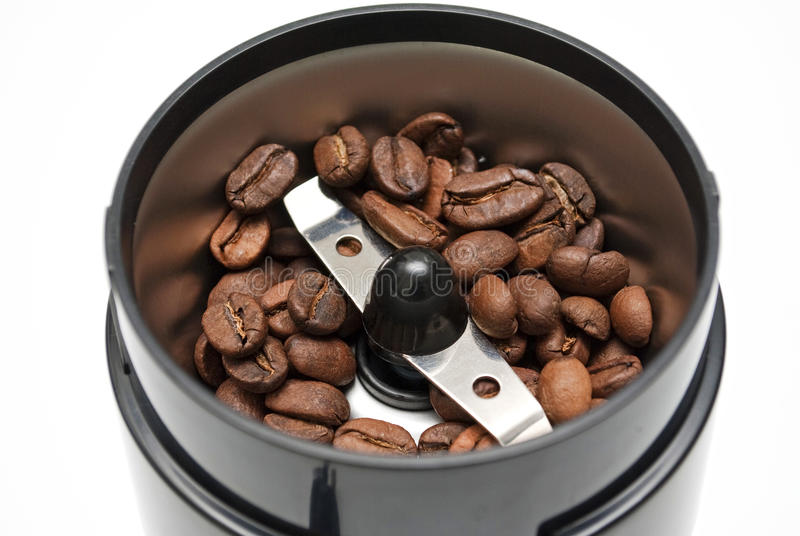 Nieuwe moderne elektrische koffiemolennen royalty-vrije stock afbeelding