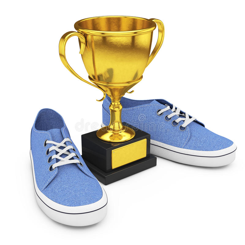 Nieuwe Ongemerkte Blauwe Denimtennisschoenen dichtbij Gouden Trofee 3D renderi stock illustratie