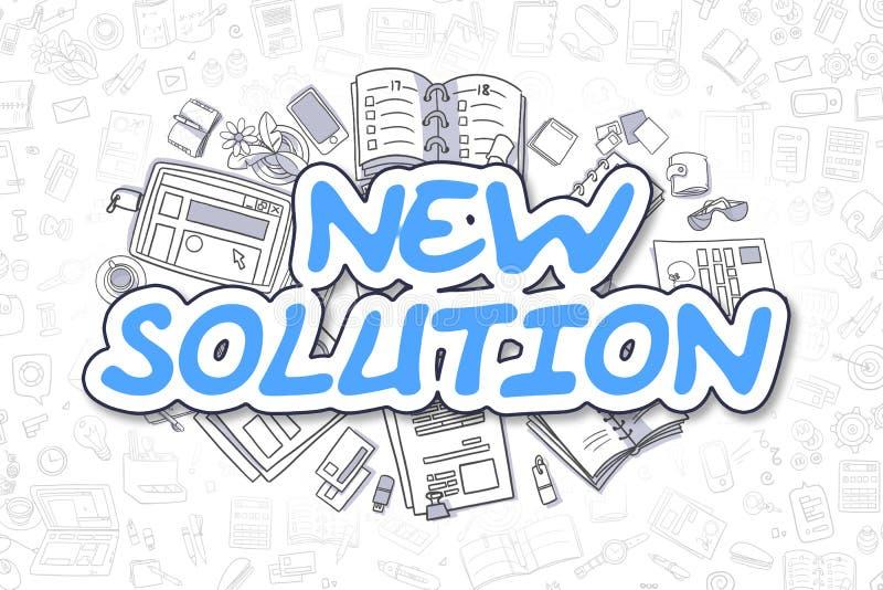 Nieuwe Oplossing - Krabbel Blauwe Tekst Bedrijfs concept royalty-vrije illustratie