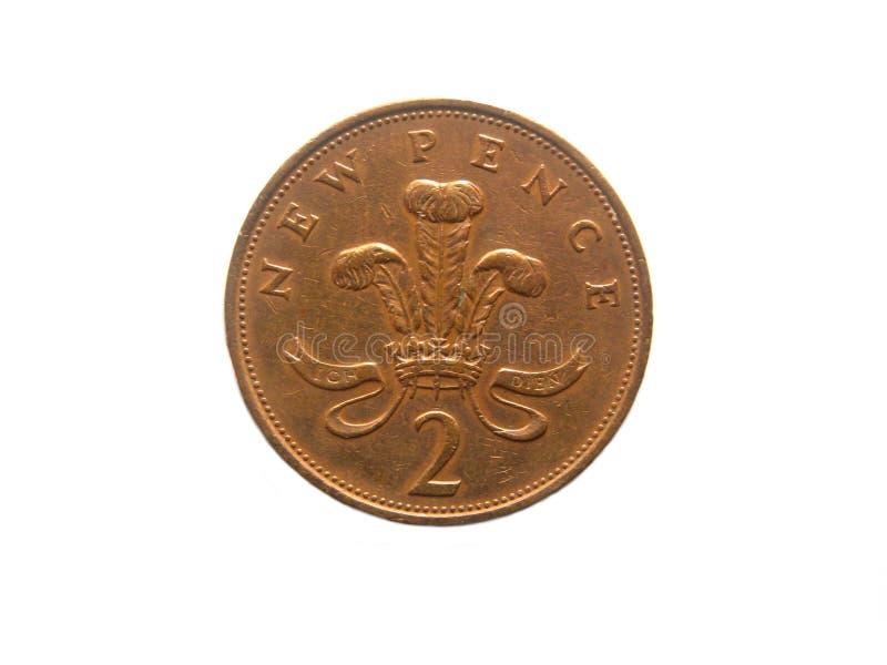 2 nieuwe Pence muntstuk royalty-vrije stock afbeelding