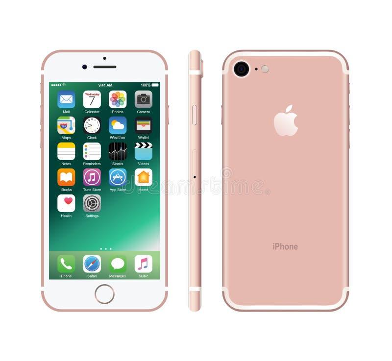 Nieuwe roze-gekleurde witte iPhone 7 stock fotografie