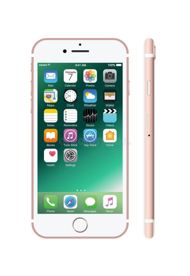 Nieuwe roze-gekleurde witte iPhone 7 vector illustratie
