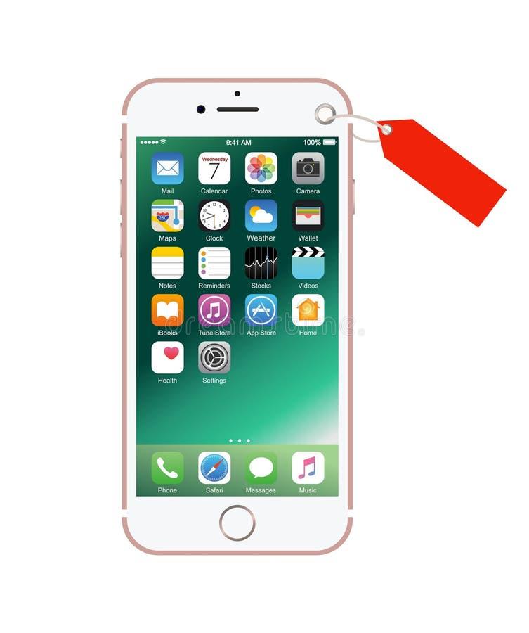 Nieuwe roze-gekleurde witte iPhone 7 als heden stock afbeeldingen