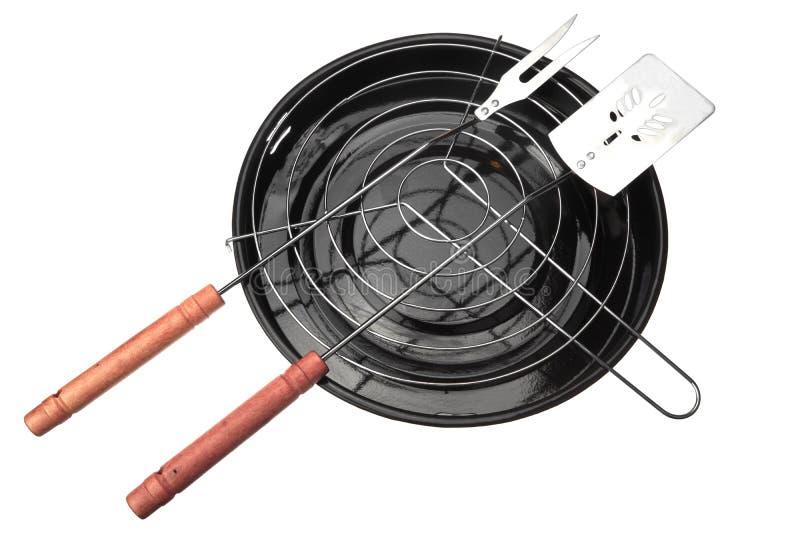 Nieuwe Schone Barbecuegrill en BBQ Geïsoleerde Tol stock afbeeldingen