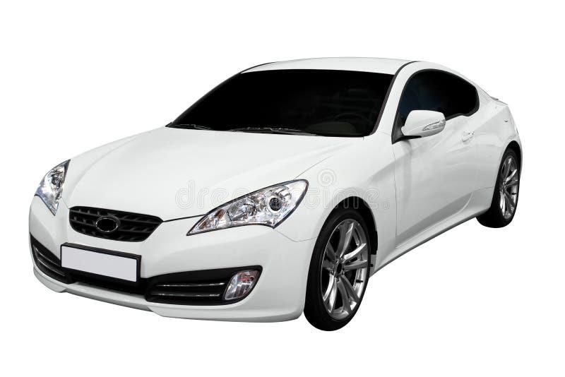 Nieuwe snelle witte coupéauto royalty-vrije stock foto's