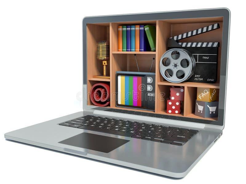 Nieuwe technologieën Laptop Het concept van verschillende media vector illustratie