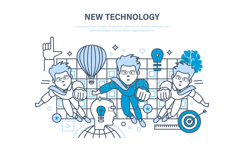 Nieuwe Technologie Innovatieonderzoek Onderwijs, online cursussen, opstarten, opleiding royalty-vrije illustratie