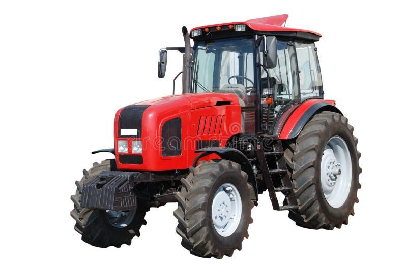 Nieuwe tractor op witte achtergrond stock afbeeldingen