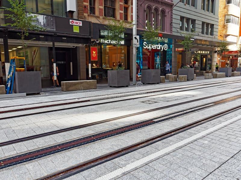 Nieuwe Tramsporen, George Street, Sydney, Australië royalty-vrije stock afbeeldingen