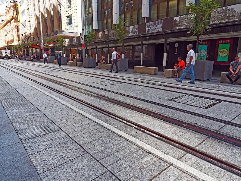 Nieuwe Tramsporen, George Street, Sydney, Australië stock foto's