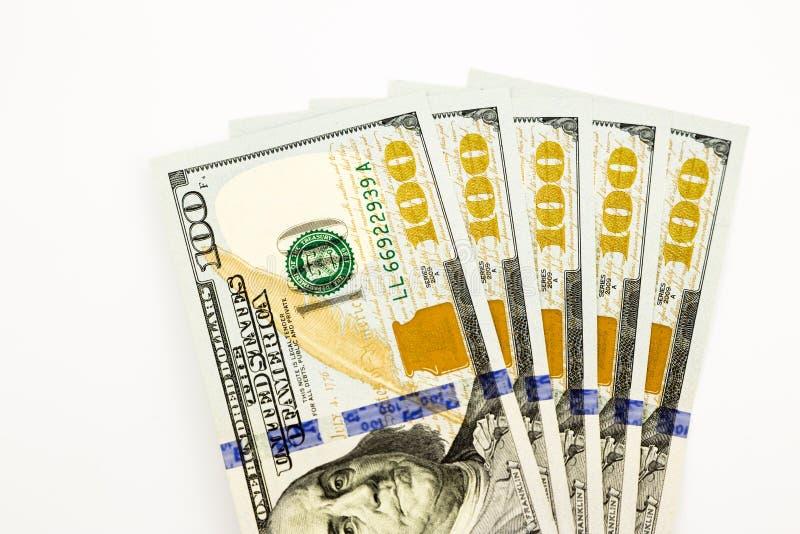 Nieuwe uitgave 100 dollarsbankbiljetten, geld voor salaris en mede inkomen royalty-vrije stock foto's