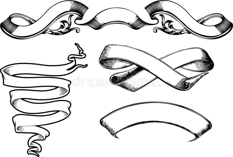 Nieuwe Uitstekende Vier buigen Banners stock illustratie