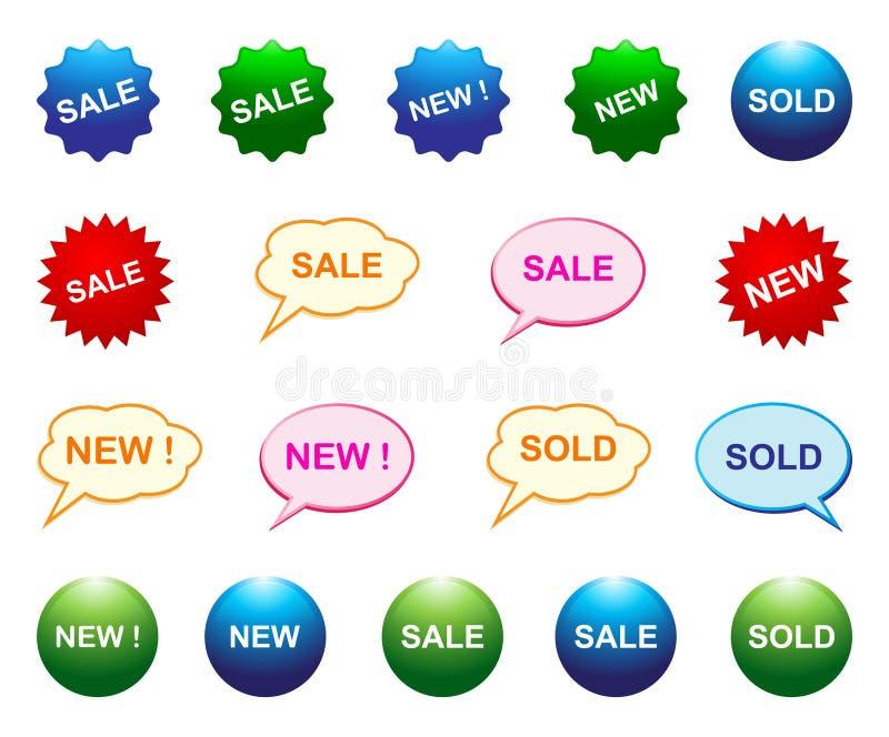 Nieuwe verkoop verkochte pictogrammen royalty-vrije illustratie