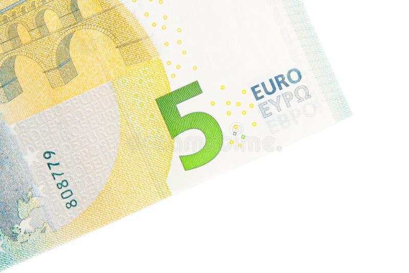 Nieuwe vijf euro bankbiljet achterkant stock afbeelding