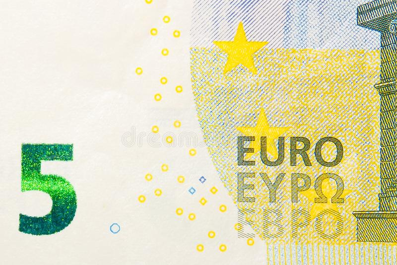 Nieuwe vijf euro bankbiljet voorkant royalty-vrije stock foto