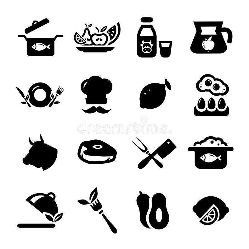 Nieuwe voedselpictogrammen stock illustratie
