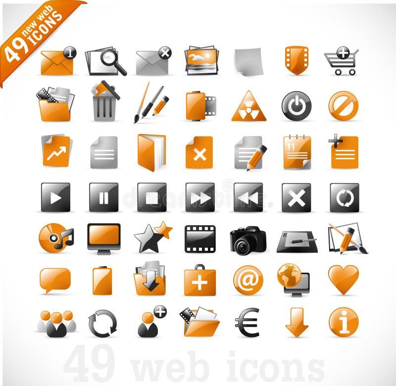 Nieuwe Web en mutimediapictogrammen 2 - sinaasappel stock illustratie