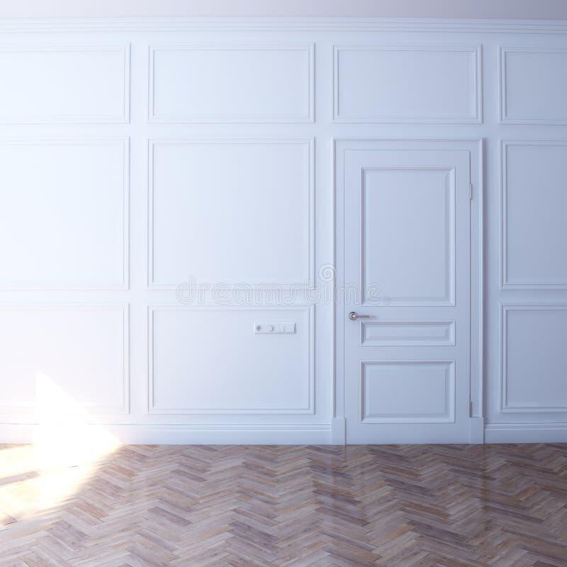 Nieuwe witte ruimte met deur in de zonneschijn royalty-vrije stock foto