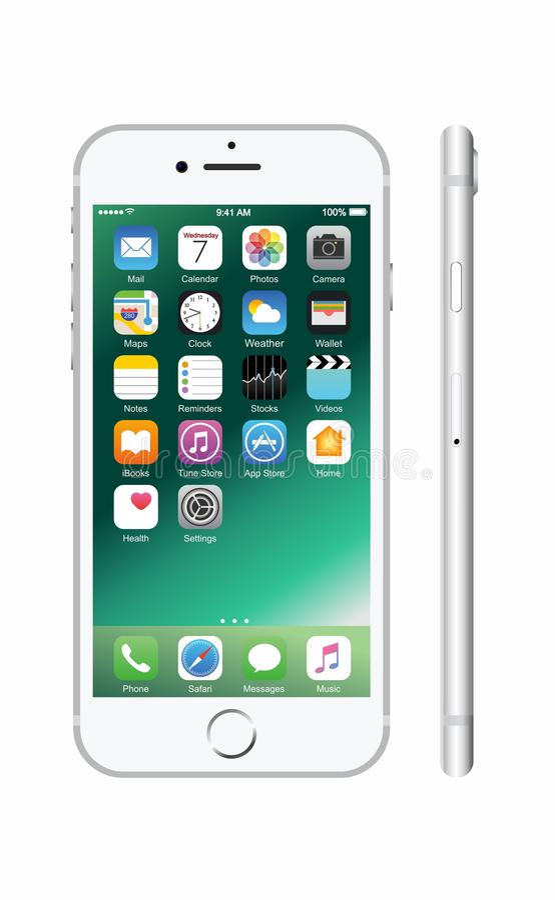Nieuwe zilveren-gekleurde witte iPhone 7 royalty-vrije stock afbeelding
