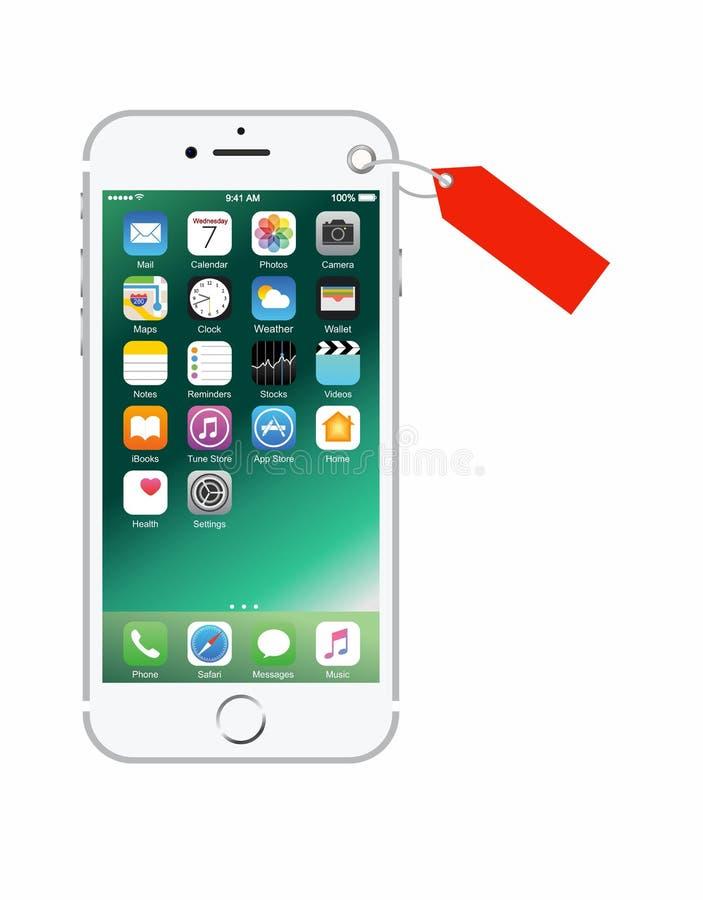 Nieuwe zilveren-gekleurde witte iPhone 7 als heden stock fotografie