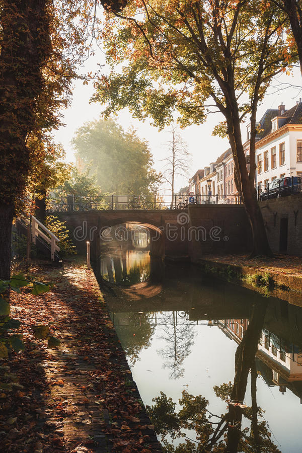 Nieuwegracht with its arched bridges in the old town of Utrecht. The Nieuwegracht with its arched bridges in the old town of Utrecht stock photo