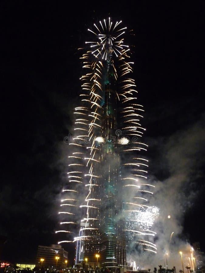 Nieuwjaar 2011 de Vieringen van Burj Khalifa Doubai stock afbeelding