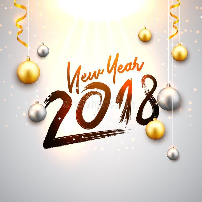 Nieuwjaar 2018 achtergrond met gouden en zilveren Kerstmisballen Decoratieve feestelijke het ontwerpkaart van de Kerstmisviering stock illustratie