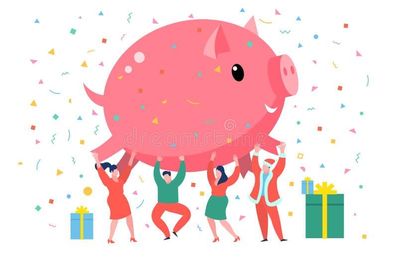 Nieuwjaar 2019 bedrijfsconcept Bedrijfsmensen die groot roze varken houden vector illustratie