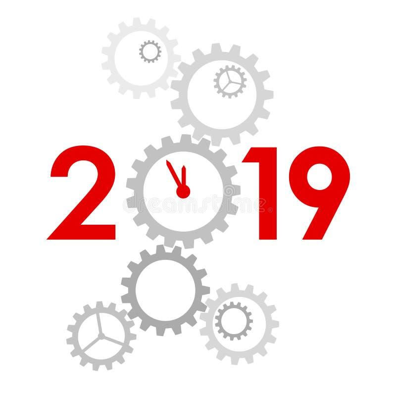 Nieuwjaar 2019 concept - klok vector illustratie