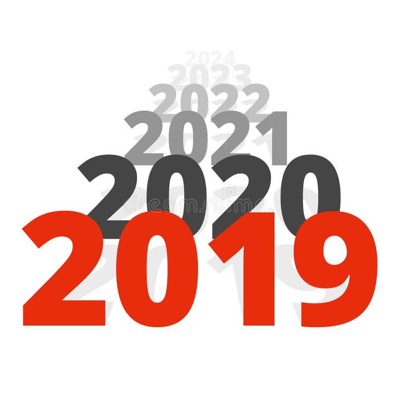 Nieuwjaar 2019 concept - rij van data stock illustratie