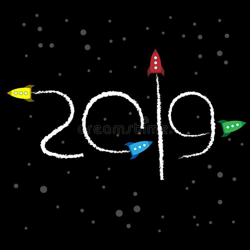 Nieuwjaar 2019 concept - ruimte vector illustratie