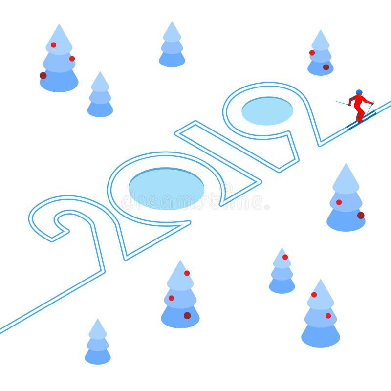 Nieuwjaar 2019 concept - skiër vector illustratie